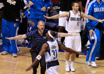 DALLAS, TX - JUNE 09:  Jason Terry #31 of the Dallas Mavericks reacts with head equipment manager Al Whitley after Terry made a three-pointer late in the fourth quarter while taking on the Miami Heat in Game Five of the 2011 NBA Finals at American Airline