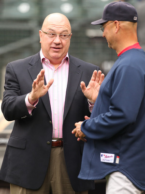 SEATTLE - SEPTEMBER 15:  Executive Vice President & GM  Jack Zduriencik (L) of the Seattle Mariners speaks with manager Terry Francona of the Boston Red Sox prior to the game at Safeco Field on September 15, 2010 in Seattle, Washington. (Photo by Otto Gre