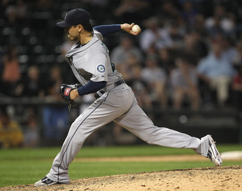 CHICAGO, IL - JUNE 08: Brandon League #43 of the Seattle Mariners pitches in the 10th inning against the Chicago White Sox at U.S. Cellular Field on June 8, 2011 in Chicago, Illinois. The Mariners defeated the White Sox 7-4 in 10 innings. (Photo by Jonath
