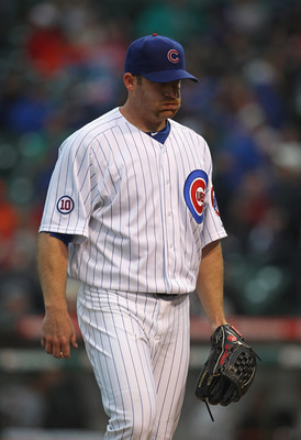 CHICAGO, IL - MAY 13: Ryan Dempster #46 of the Chicago Cubs walks off of the field after pitching in the 5th inning against the San Francisco Giants at Wrigley Field on May 13, 2011 in Chicago, Illinois.  The Cubs defeated the Giants 11-4. (Photo by Jonat