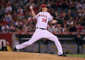 ANAHEIM, CA - JUNE 08:  Jered Weaver #36 of the Los Angeles Angels of Anaheim pitches against the Tampa Bay Rays in the sixth inning at Angel Stadium of Anaheim on June 8, 2011 in Anaheim, California.  The Rays defeated the Angels 4-3 in ten innings. (Pho