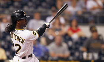 PITTSBURGH - JUNE 08:  Andrew McCutchen #22 of the Pittsburgh Pirates hits a walk off solo home run in the 12th inning against the Arizona Diamondbacks during the game on June 8, 2011 at PNC Park in Pittsburgh, Pennsylvania.  (Photo by Jared Wickerham/Get