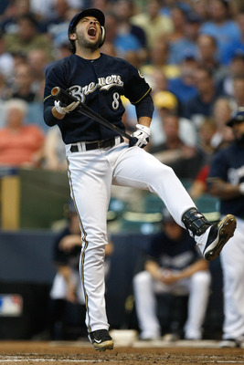 MILWAUKEE, WI - JUNE 7: Ryan Braun #8 of the Milwaukee Brewers screams after the baseball hits his shin during a game against the New York Mets at Miller Park on June 7, 2011 in Milwaukee, Wisconsin. (Photo by Scott Boehm/Getty Images)