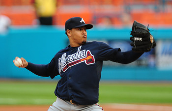 MIAMI GARDENS, FL - JUNE 09: Jair Jurrjens  # 49 of the Atlanta Braves pitches against the Florida Marlins at Sun Life Stadium on June 9, 2011 in Miami Gardens, Florida.  (Photo by Marc Serota/Getty Images)