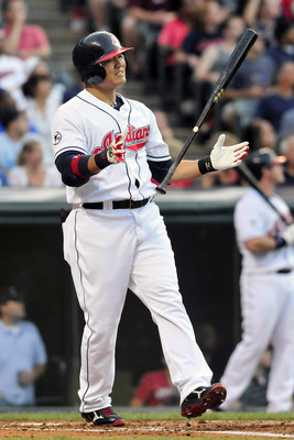 CLEVELAND, OH - JUNE 6: Shin-Soo Choo #17 of the Cleveland Indians reacts after striking out during the third inning against the Minnesota Twins at Progressive Field on June 6, 2011 in Cleveland, Ohio. The Twins defeated the Indians 6-4. (Photo by Jason M