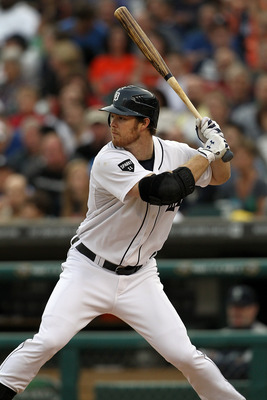 DETROIT, MI - JUNE 09:  Brennan Boesch #26 of the Detroit Tigers gets set for the pitch in a MLB game against the Seattle Mariners at Comerica Park on June 9, 2011 in Detroit, Michigan.  The Tigers defeated the Mariners 4-1  (Photo by Dave Reginek/Getty I