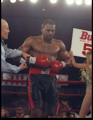 7 Feb 1997: Oliver McCall looks on during a bout against Lennox Lewis at the Las Vegas Hilton in Las Vegas, Nevada. Lewis won the fight.