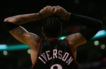 TORONTO - NOVEMBER 8:  Allen Iverson #3 of the Philadelphia 76ers rests his hands on his head during the game against the Toronto Raptors  on November 8, 2006 at the Air Canada Centre in Toronto, Canada. The Raptors defeated the Sixers 106-104. NOTE TO US