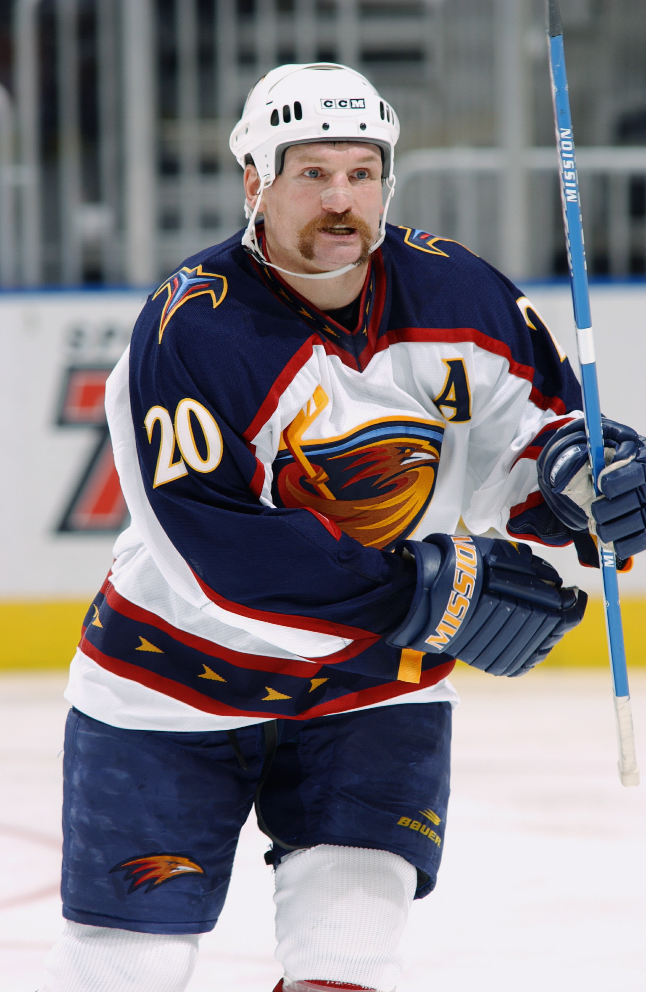 ATLANTA - APRIL 6:  Jeff Odgers #20 of the Atlanta Thrashers skates during the NHL game against the Tampa Bay Lightning  at Philips Arena on April 6, 2003 in Atlanta, Georgia. The Thrashers defeated the Lightning 6-2. (Photo by Scott Cunningham Getty Imag