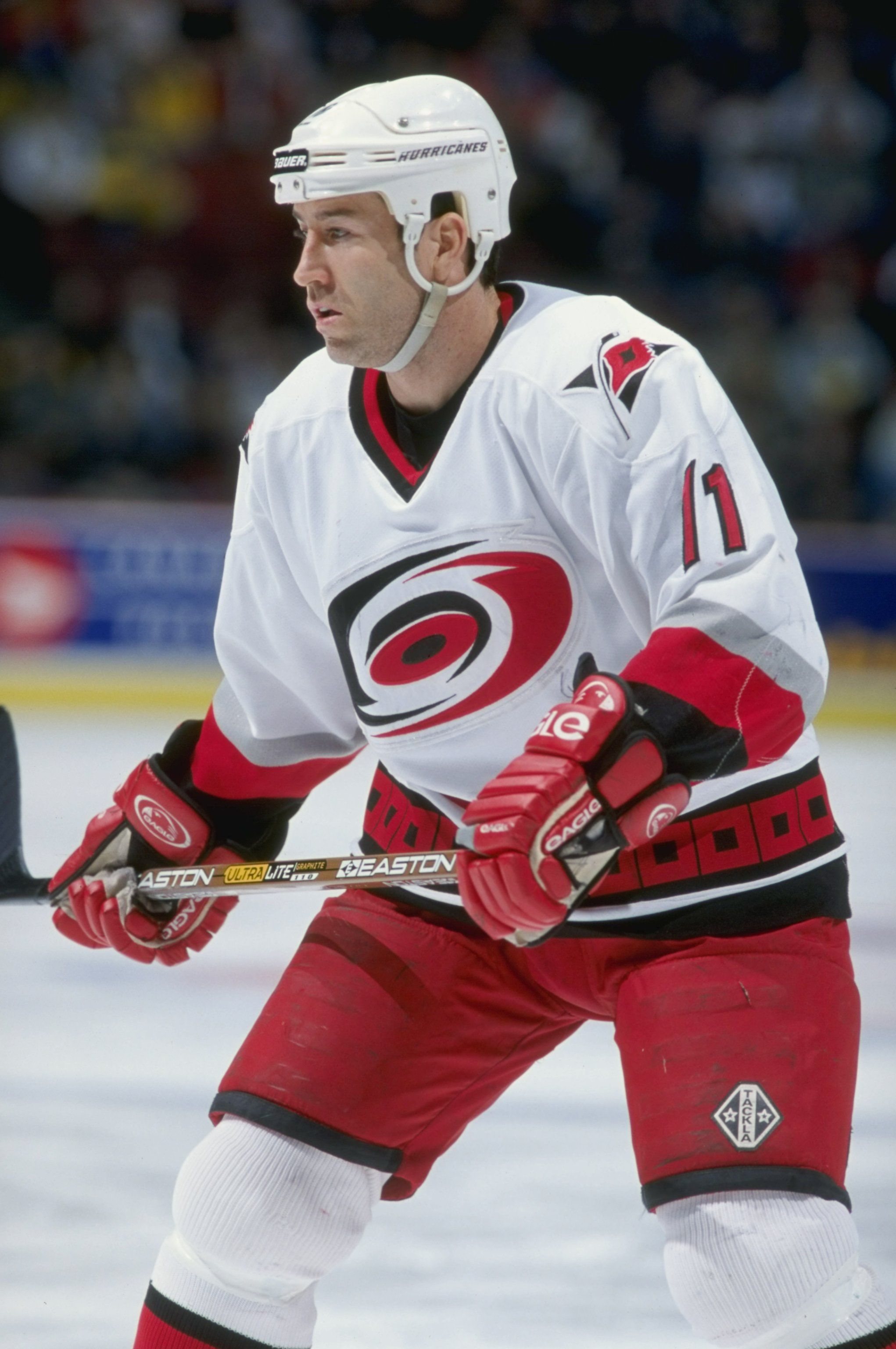 30 Jan 1999: Kevin Dineen #11 of the Carolina Hurricanes skates during the game agaisnt the Montreal Canadiens at the Molson Centre In Montreal, Canada. The Hurricanes defeated the Canadiens 3-1. Mandatory Credit: Robert Laberge  /Allsport