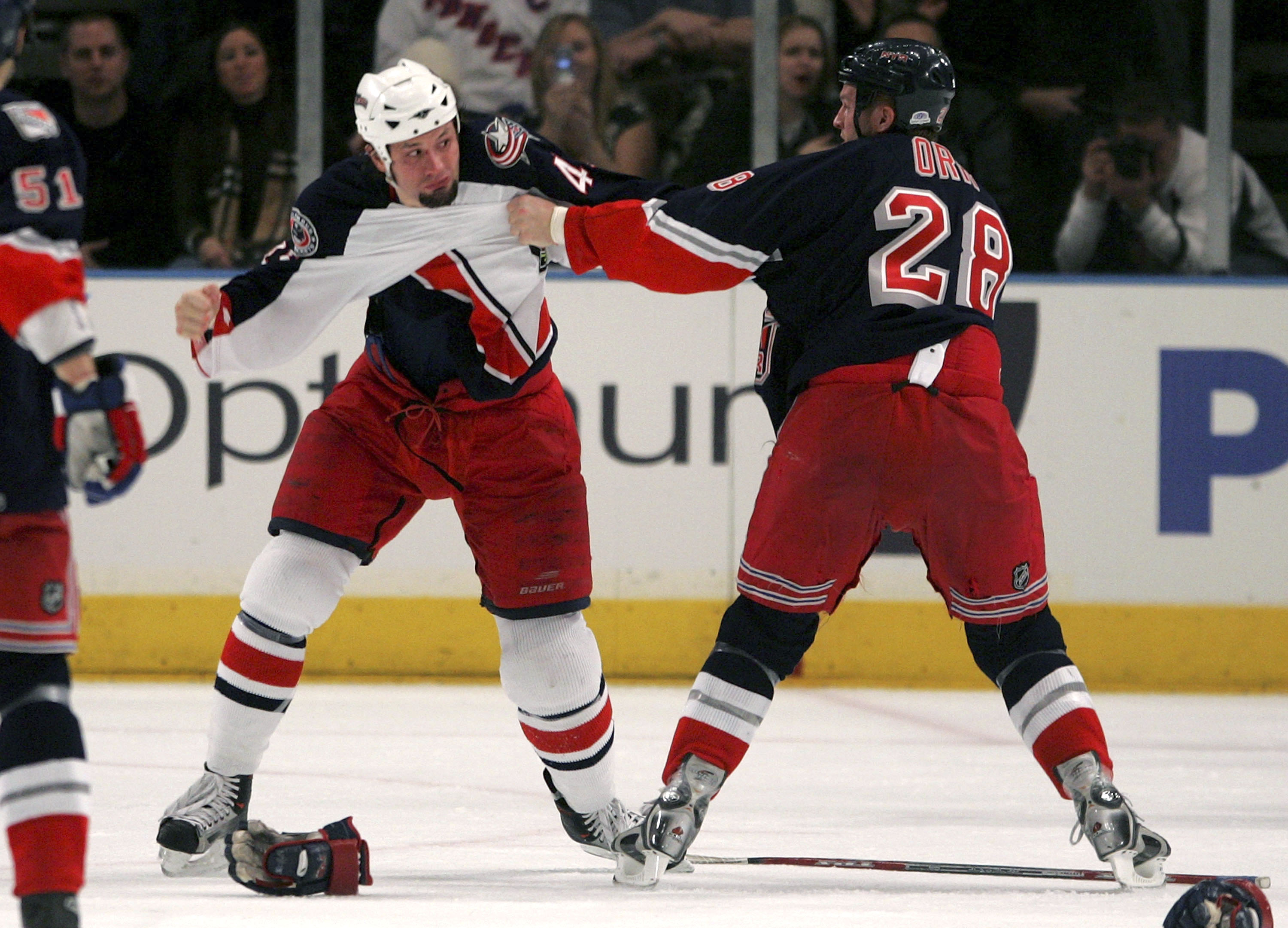 NEW YORK - FEBRUARY 24:  Jody Shelley #45 of the Columbus Blue Jackets and Colton Orr #28 of the New York Rangers exchange blows on February 24, 2007 at Madison Square Garden in New York. The Blue Jackets defeated the Rangers 3-2. (Photo by Bruce Bennett/