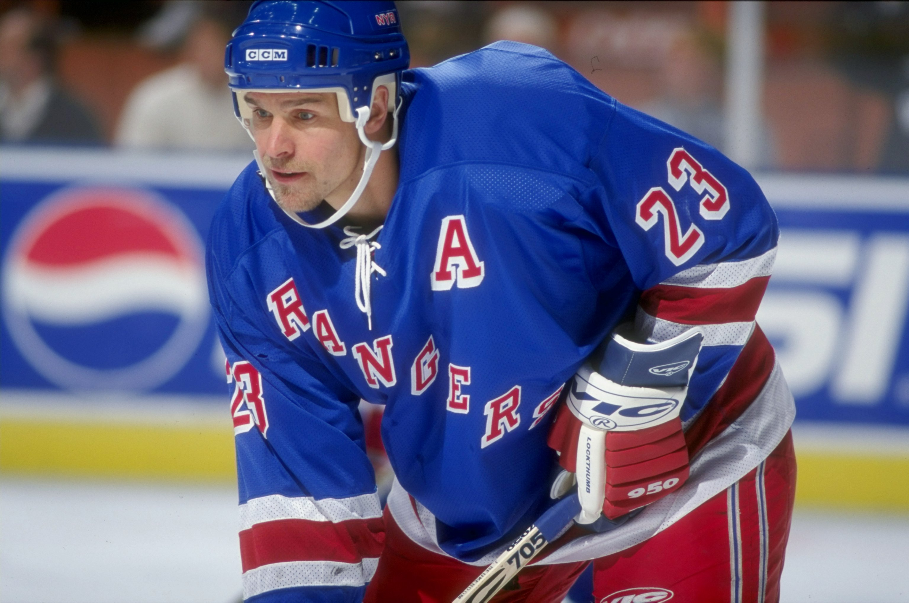 19 Nov 1998: Defenseman Jeff Beukeboom #23 of the New York Rangers in action during the game against the Los Angeles Kings at the Great Western Forum in Inglewood, California. The Rangers defeated the Kings 5-1.