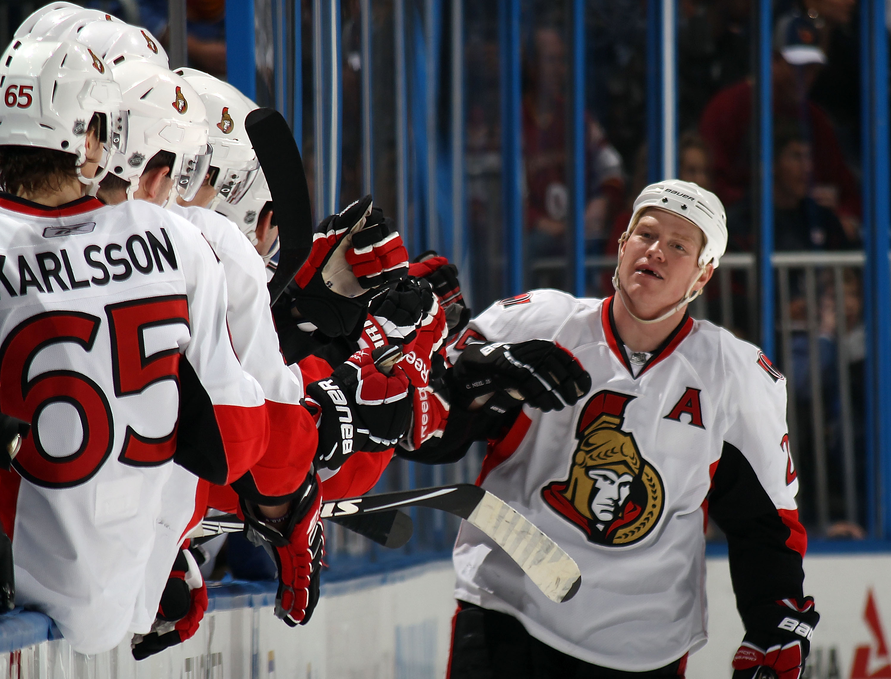 ATLANTA, GA - MARCH 27:  Chris Neil #25 of the Ottawa Senators celebrates his goal at 13:37 against the Atlanta Thrashers at the Philips Arena on March 27, 2011 in Atlanta, Georgia. (Photo by Bruce Bennett/Getty Images)