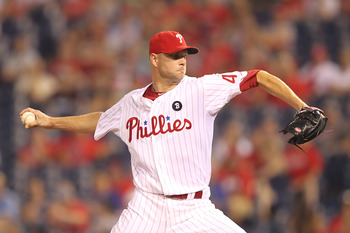 PHILADELPHIA - JUNE 9: Relief pitcher Ryan Madson #46 of the Philadelphia Phillies throws a pitch during a game against the Chicago Cubs at Citizens Bank Park on June 9, 2011 in Philadelphia, Pennsylvania. (Photo by Hunter Martin/Getty Images)
