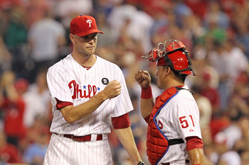 PHILADELPHIA - JUNE 8: Relief pitcher Ryan Madson #46 of the Philadelphia Phillies is congratulated by catcher Carlos Ruiz #51 after closing out the game against the Los Angeles Dodgers at Citizens Bank Park on June 8, 2011 in Philadelphia, Pennsylvania.
