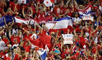 TAMPA, FL - JUNE 11:  Fans of Team Panama celebrate their teams victory over Team United States during the CONCACAF Gold Cup Match at Raymond James Stadium on June 11, 2011 in Tampa, Florida.  (Photo by J. Meric/Getty Images)