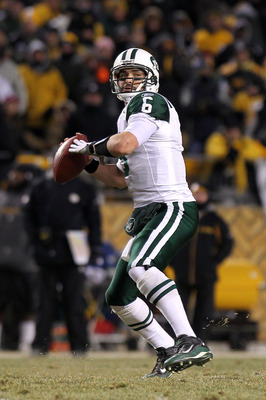 PITTSBURGH, PA - JANUARY 23:  Mark Sanchez #6 of the New York Jets throws the ball against the Pittsburgh Steelers during the 2011 AFC Championship game at Heinz Field on January 23, 2011 in Pittsburgh, Pennsylvania. The Steelers won 24-19.  (Photo by Nic
