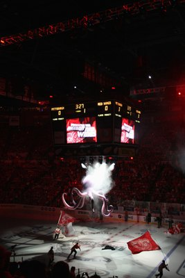 DETROIT - JUNE 6:  Skaters carry flags around the ice prior to the start of Game Five of the 2009 NHL Stanley Cup Finals between the Pittsburgh Penguins and the Detroit Red Wings at Joe Louis Arena on June 6, 2009 in Detroit, Michigan. (Photo by: Bruce Be