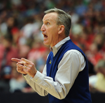 TUCSON, AZ - MARCH 17:  Head coach Rick Byrd of the Belmont Bruins coaches against the Wisconsin Badgers during the second round of the 2011 NCAA men's basketball tournament at McKale Center on March 17, 2011 in Tucson, Arizona. The Badgers defeated the B