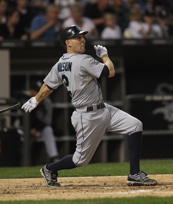 CHICAGO, IL - JUNE 06:  Jack Wilson #44 of the Seattle Mariners hits the ball against the Chicago White Sox at U.S. Cellular Field on June 6, 2011 in Chicago, Illinois. The White Sox defeated the Mariners 3-1.  (Photo by Jonathan Daniel/Getty Images)