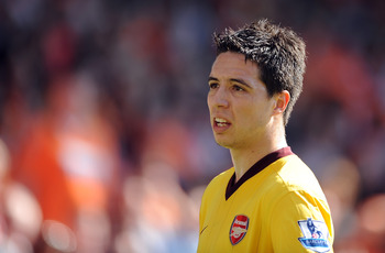 BLACKPOOL, ENGLAND - APRIL 10: Samir Nasri of Arsenal looks on during the Barclays Premier League match between Blackpool and Arsenal at Bloomfield Road on April 10, 2011 in Blackpool, England.  (Photo by Chris Brunskill/Getty Images)