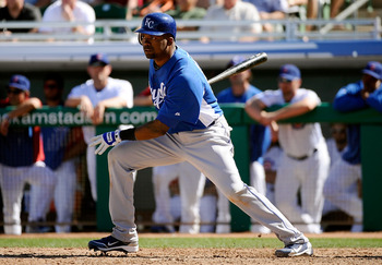 MESA, AZ - MARCH 09:  Wilson Betemit #24 of the Kansas City Royals at bat against the Chicago Cubs during the spring training baseball game at HoHoKam Stadium on March 9, 2011 in Mesa, Arizona.  (Photo by Kevork Djansezian/Getty Images)
