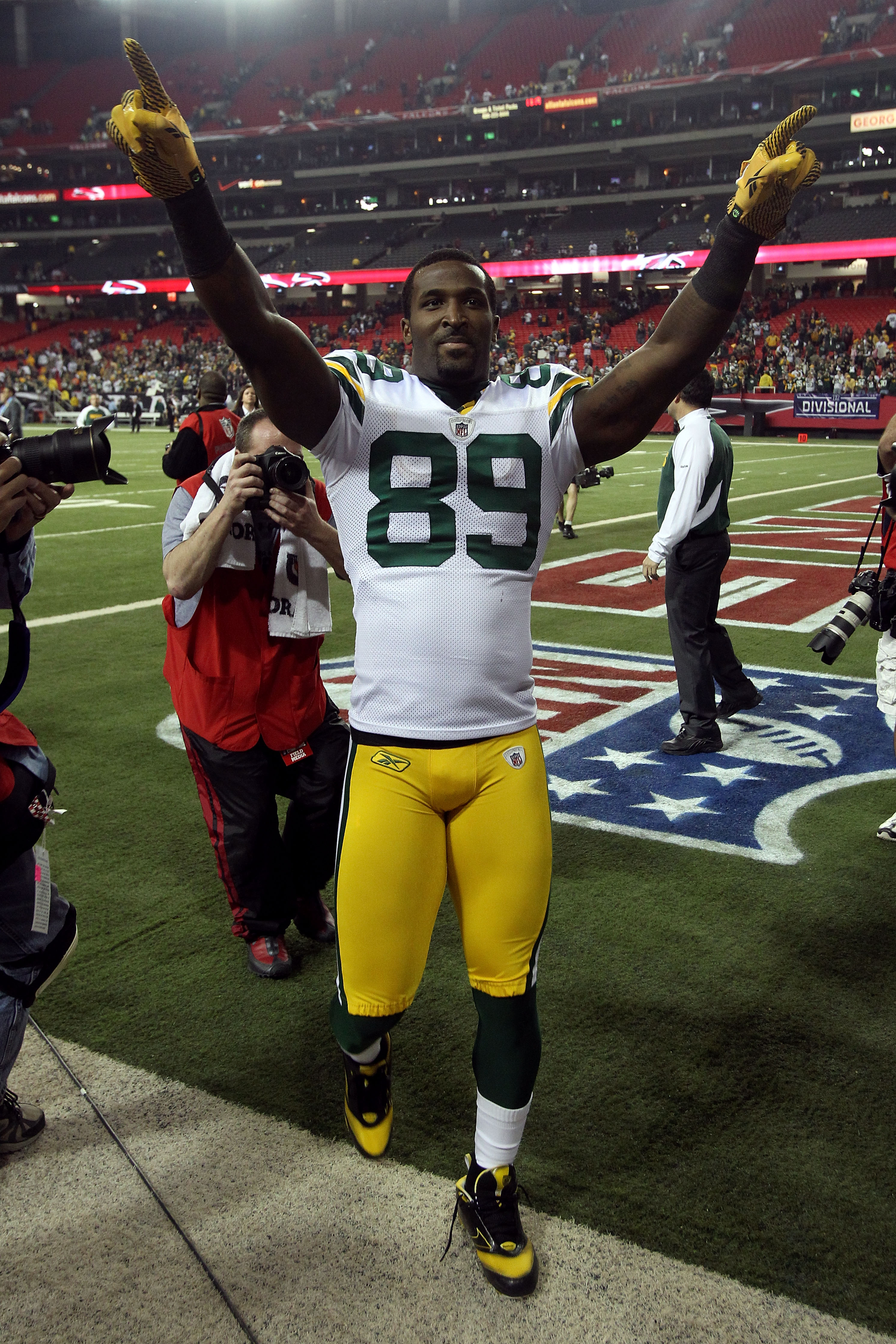 ATLANTA, GA - JANUARY 15:  James Jones #89 of the Green Bay Packers celebrates as he walks off the field after the Pakers won 48-21 against the Atlanta Falcons during their 2011 NFC divisional playoff game at Georgia Dome on January 15, 2011 in Atlanta, G