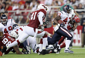 GLENDALE, AZ - AUGUST 14:  Runningback Ben Tate #43 of the Houston Texans rushes the ball against the Arizona Cardinals during preseason NFL game at the University of Phoenix Stadium on August 14, 2010 in Glendale, Arizona. The Cardinals defeated the Texa