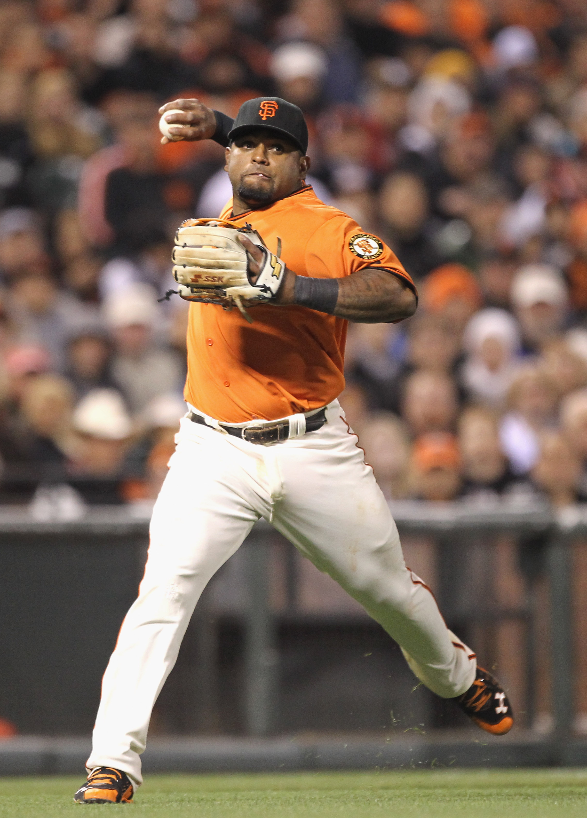 SAN FRANCISCO, CA - APRIL 22: Pablo Sandoval #48 of the San Francisco Giants in action against the Atlanta Braves at AT&T Park on April 22, 2011 in San Francisco, California.  (Photo by Ezra Shaw/Getty Images)