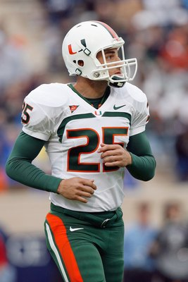 DURHAM, NC - OCTOBER 18:  Matt Bosher #25 of the Miami Hurricanes looks on the field during the game against the Duke Blue Devils at Wallace Wade Stadium on October 18, 2008 in Durham, North Carolina.  (Photo by Kevin C. Cox/Getty Images)