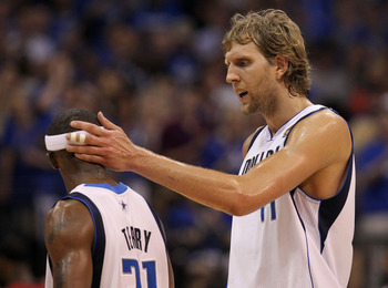 DALLAS, TX - JUNE 07:  Dirk Nowitzki #41 (R) and Jason Terry #31 of the Dallas Mavericks talk on court in the fourth quarter against the Miami Heat in Game Four of the 2011 NBA Finals at American Airlines Center on June 7, 2011 in Dallas, Texas. NOTE TO U