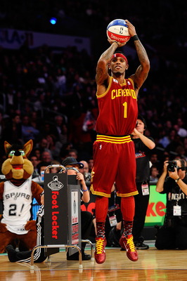 LOS ANGELES, CA - FEBRUARY 19:  Daniel Gibson #1 of the Cleveland Cavaliers competes in the Foot Locker Three-Point Contest apart of NBA All-Star Saturday Night at Staples Center on February 19, 2011 in Los Angeles, California.  (Photo by Kevork Djansezia