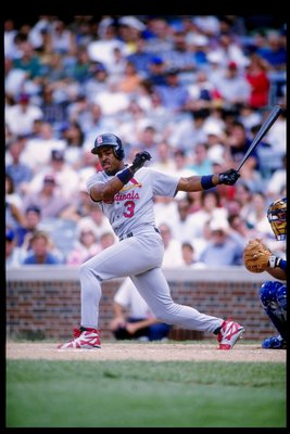 30 Jun 1995: Outfielder Brian Jordan of the St. Louis Cardinals prepares to run toward first base during a game against the Chicago Cubs. The Cardinals won the game 3-1.