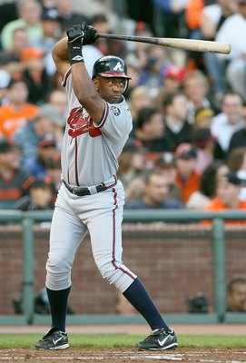 SAN FRANCISCO - JULY 23: Julio Franco #14 of the Atlanta Braves stands ready at bat against the San Francisco Giants on July 23, 2007 at AT&T Park in San Francisco, California. (Photo by Jed Jacobsohn/Getty Images)