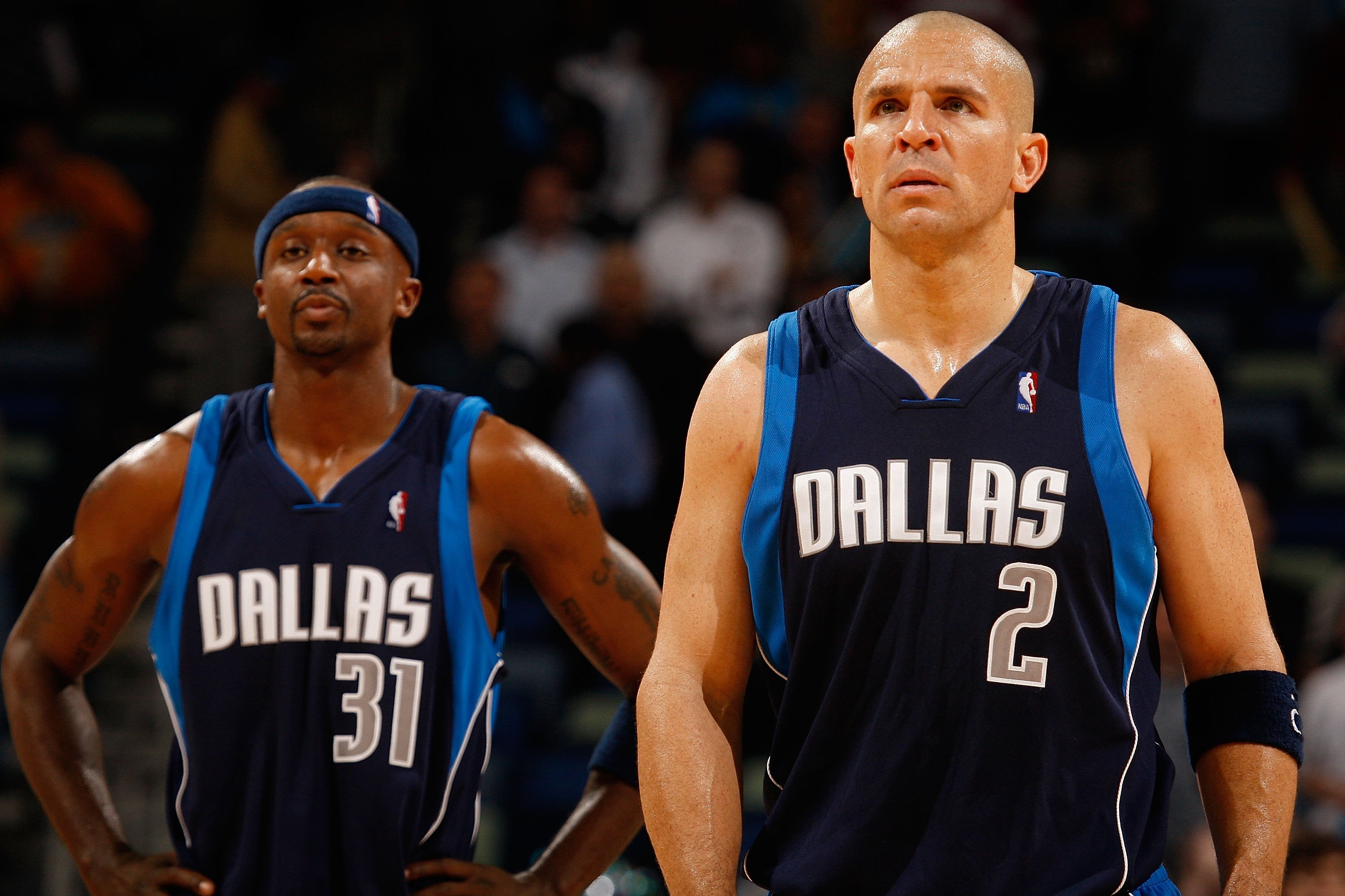 NEW ORLEANS - NOVEMBER 04:  Jason Terry #31 and Jason Kidd #2 of the Dallas Mavericks during the game against the New Orleans Hornets at New Orleans Arena on November 4, 2009 in New Orleans, Louisiana.  NOTE TO USER: User expressly acknowledges and agrees