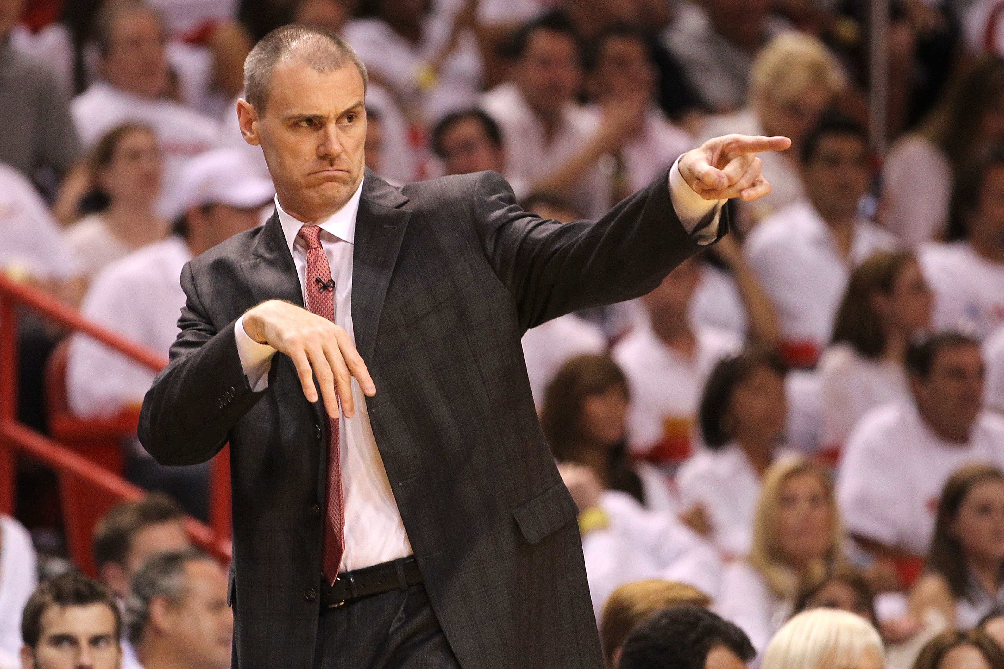 MIAMI, FL - JUNE 02:  Head coach Rick Carlisle of the Dallas Mavericks coaches against the Miami Heat in Game Two of the 2011 NBA Finals at American Airlines Arena on June 2, 2011 in Miami, Florida. NOTE TO USER: User expressly acknowledges and agrees tha