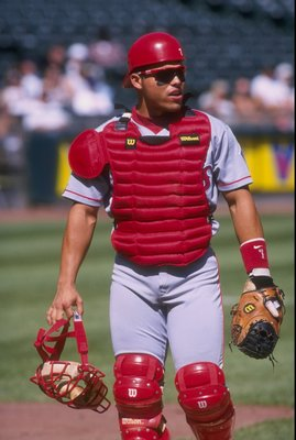 23 Sep 1997:  Catcher Ivan Rodriguez of the Texas Rangers in action during a game against the Oakland Athletics at UMAX Coliseum in Oakland, California.  The Rangers won the game 14-6. Mandatory Credit: Otto Greule  /Allsport