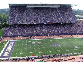 SEATTLE - SEPTEMBER 27:  Fans watch as Stanford takes on Washington on September 27, 2003 at Husky Stadium in Seattle, Washington.  Washington won 28-17. (Photo by Otto Greule Jr/Getty Images)