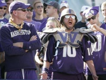 SEATTLE - SEPTEMBER 6:  A Washington Huskies fan shows his support during the game between the BYU Cougars and the Washington Huskies on September 6, 2008 at Husky Stadium in Seattle, Washington. The Cougars defeated the Huskies 28-27. (Photo by Otto Greu