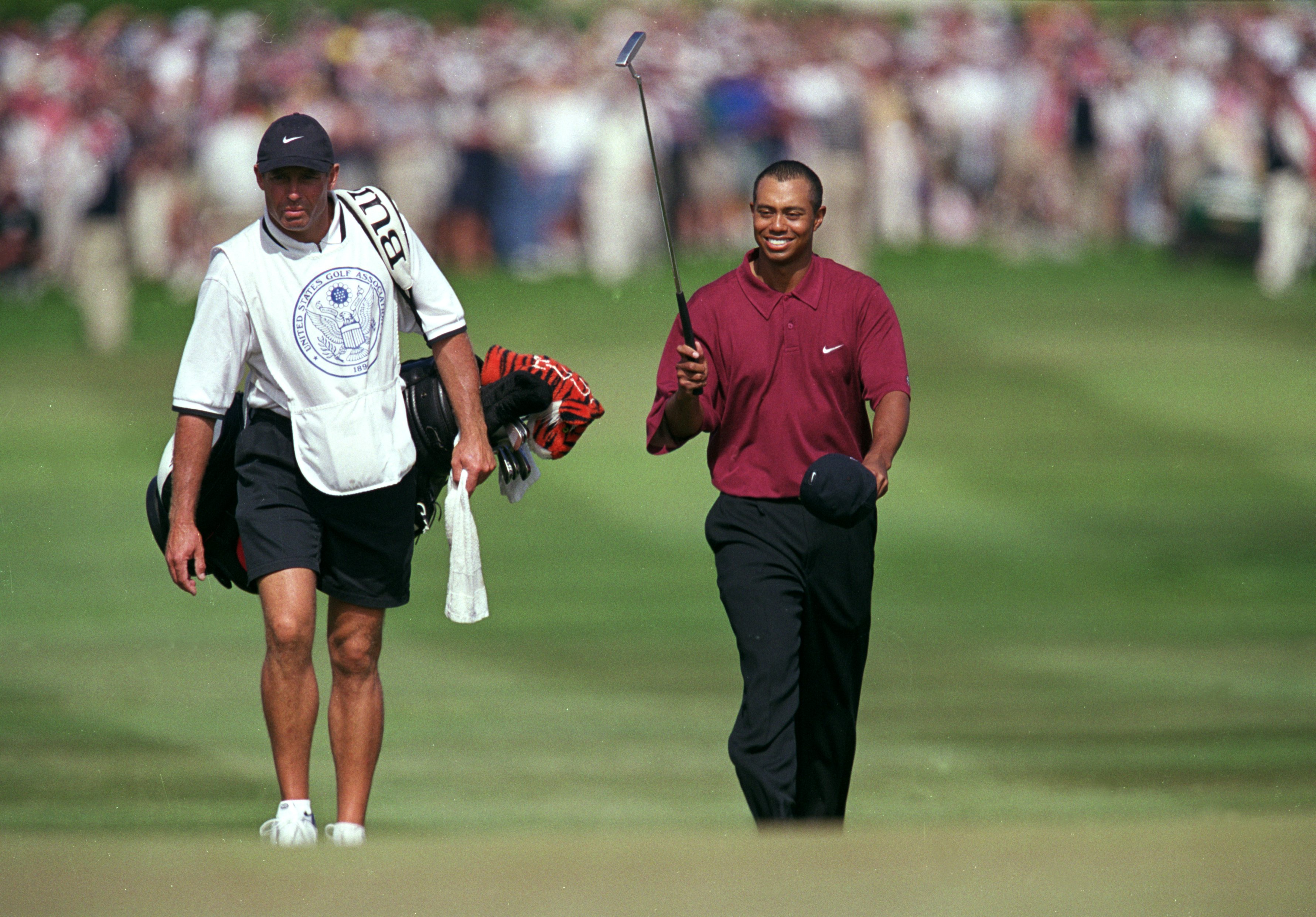 18 Jun 2000:  Tiger Woods walks up to the 18th hole during the 100th US Open at the Pebble Beach Golf Links in Pebble Beach, California.Mandatory Credit: Jamie Squire  /Allsport