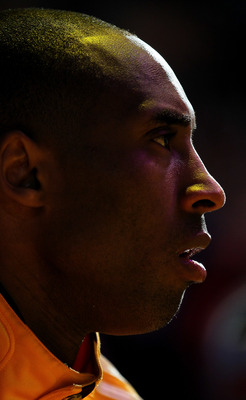 LOS ANGELES, CA - APRIL 05:  Kobe Bryant #24 of the Los Angeles Lakers sits on the bench before the game with the Utah Jazz at Staples Center on April 5, 2011 in Los Angeles, California. The Jazz won 86-85.  NOTE TO USER: User expressly acknowledges and a