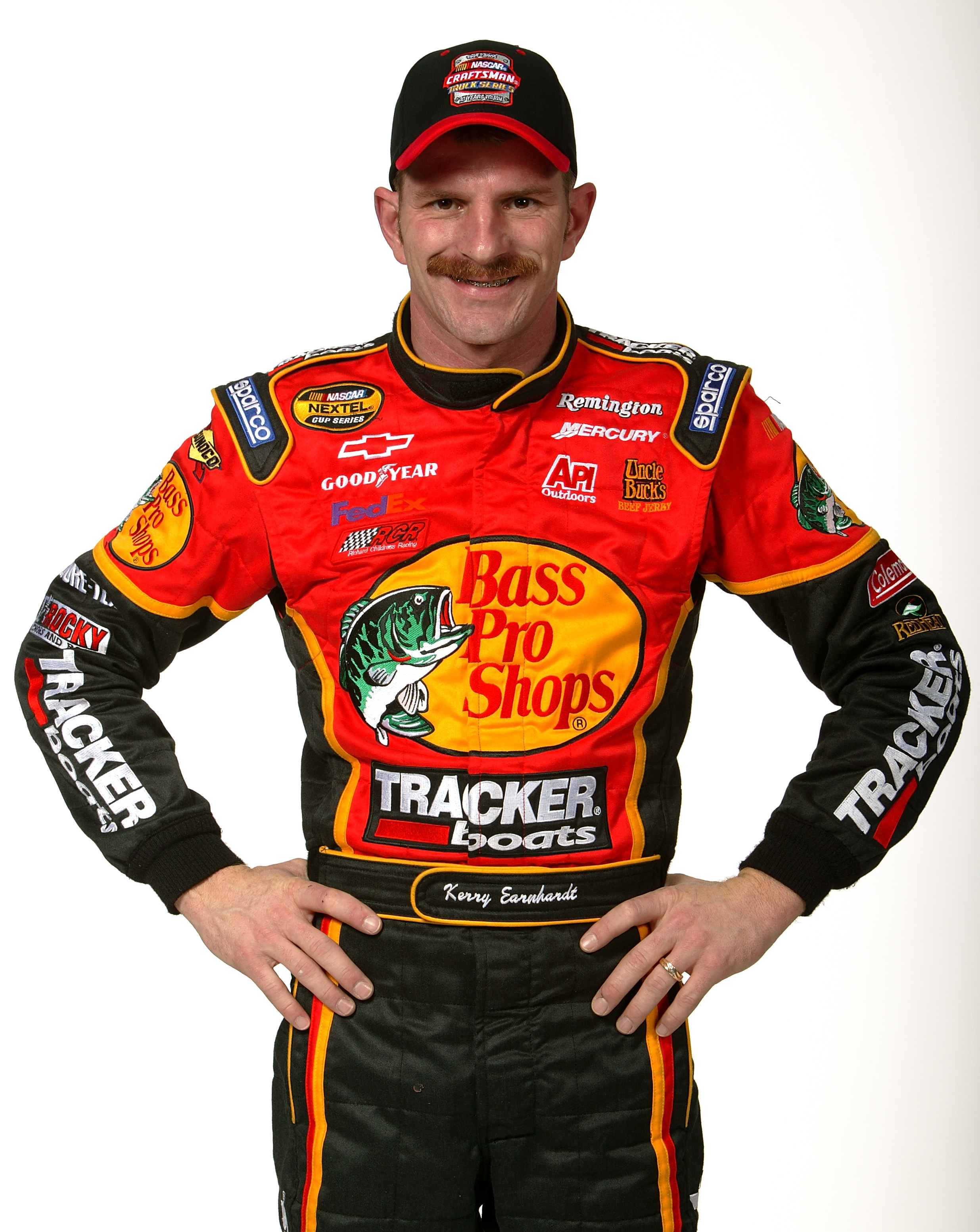 DAYTONA BEACH, FL - FEBRUARY 17:  Kerry Earnhardt, driver of the NASCAR Craftsman Truck Series Bass Pro Shops Cheverolet, poses at the NASCAR Nextel Cup Daytona 500 on February 17, 2005 at the Daytona International Speedway in Daytona, Florida.  (Photo By