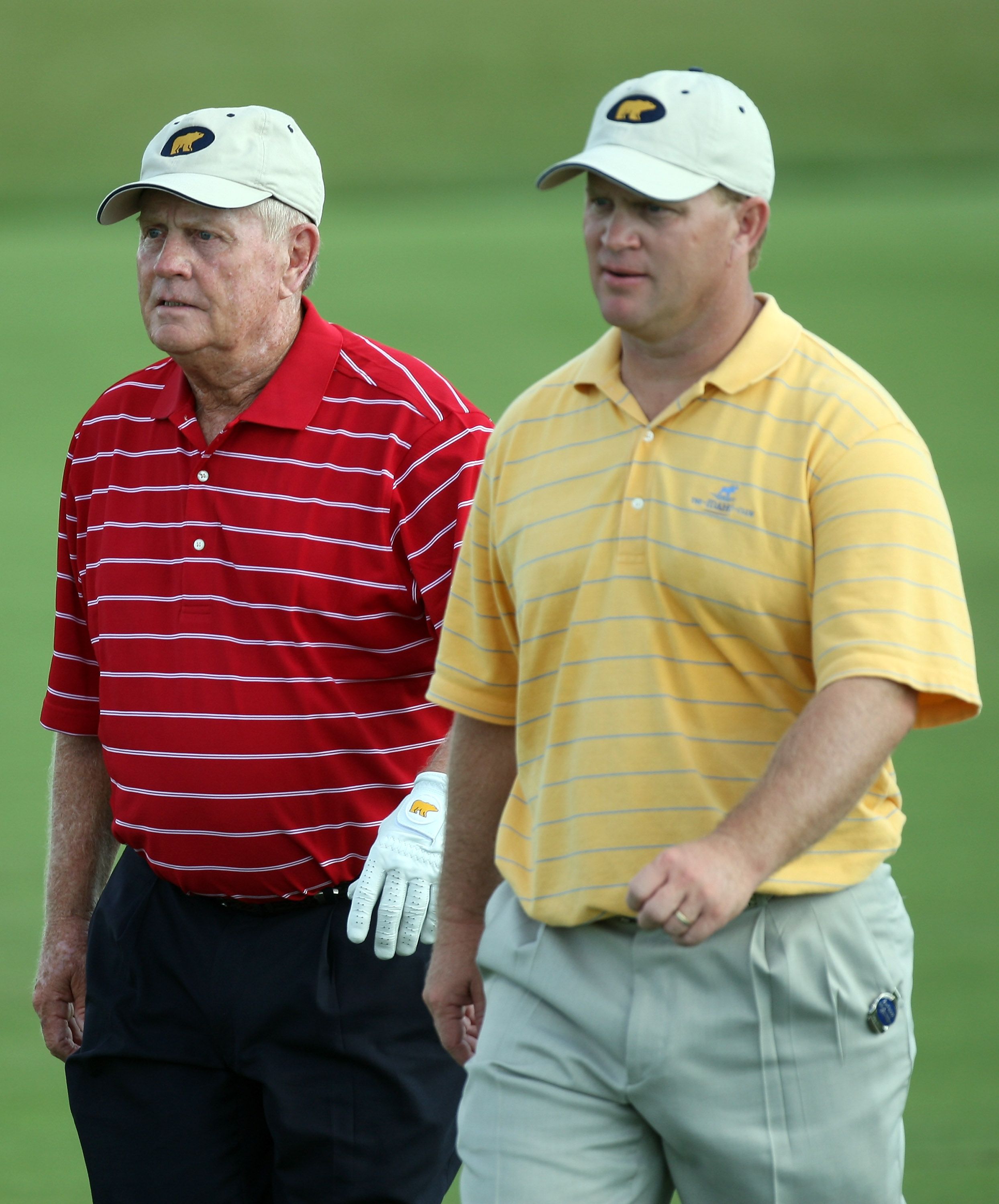 CHAMPIONS GATE, FLORIDA - DECEMBER 02:  Gary Nicklaus and his father Jack Nicklaus play the 10th hole during the final round of the 2007 Del Webb Father Son Challenge on the International Course at Champions Gate Golf Club, on December 2, 2007 in Champion