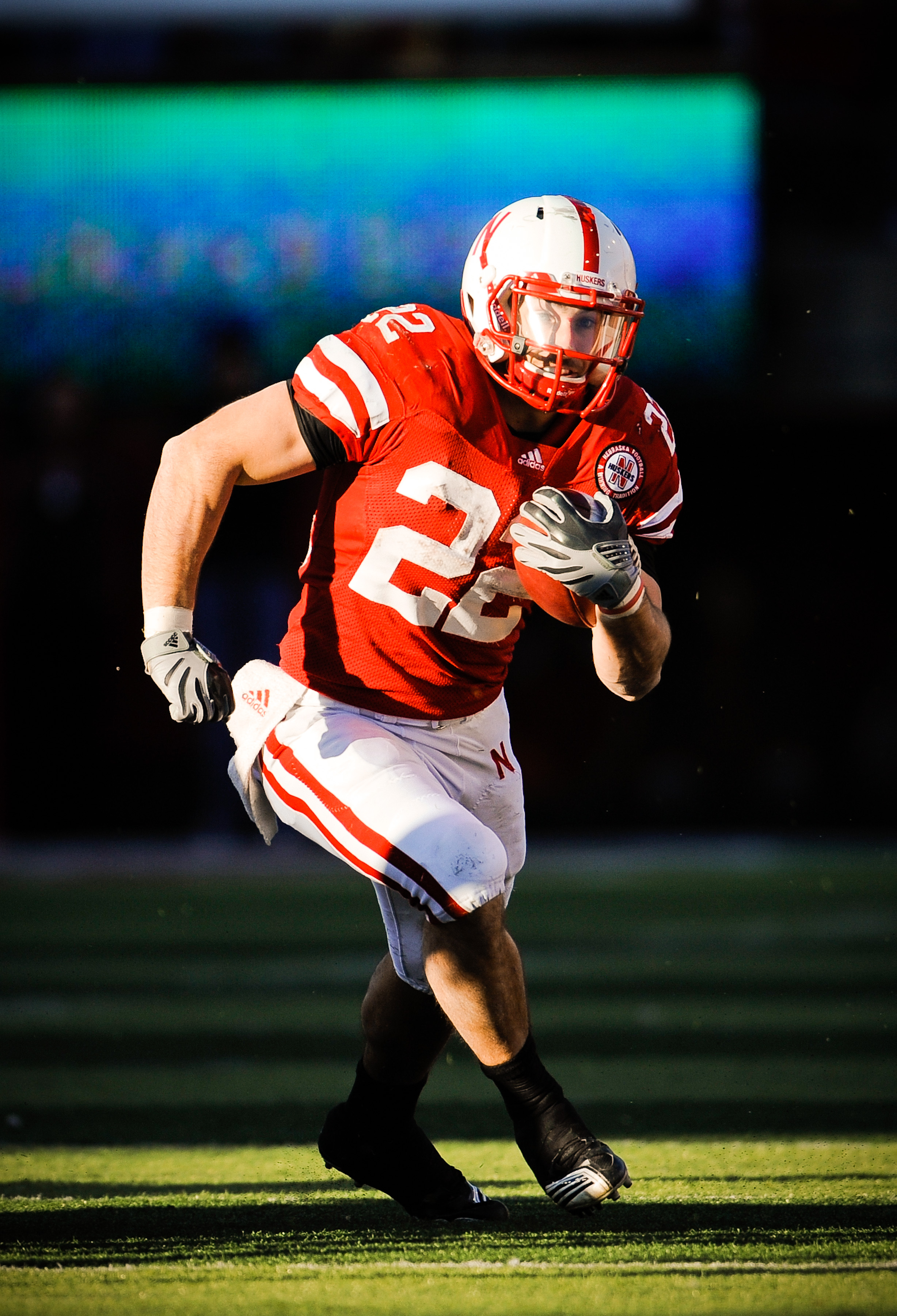 LINCOLN, NE - NOVEMBER 26: Rex Burkhead #22 of the Nebraska Cornhuskers runs the ball during their game at Memorial Stadium on November 26, 2010 in Lincoln, Nebraska. Nebraska defeated Colorado 45-17 (Photo by Eric Francis/Getty Images)