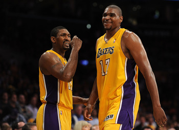 LOS ANGELES, CA - APRIL 20:  Ron Artest #15 and Andrew Bynum #17 of the Los Angeles Lakers react while taking on the New Orleans Hornets in Game Two of the Western Conference Quarterfinals in the 2011 NBA Playoffs on April 20, 2011 at Staples Center in Lo