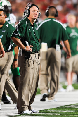 COLUMBUS, OH - SEPTEMBER 2: Head Coach Doc Holliday of the Marshall Thundering Herd watches his team play the Ohio State Buckeyes at Ohio Stadium on September 2, 2010 in Columbus, Ohio. (Photo by Jamie Sabau/Getty Images)