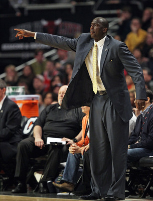 CHICAGO, IL - MARCH 12: Head coach Tyrone Corbin of the Utah Jazz gives instructions to his team against the Chicago Bulls at the United Center on March 12, 2011 in Chicago, Illinois. The Bulls defeated the Jazz 118-100. NOTE TO USER: User expressly ackno
