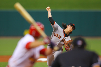 ST. LOUIS, MO - JUNE 1: Starter Tim Lincecum #55 of the San Francisco Giants pitches against the St. Louis Cardinals at Busch Stadium on June 1, 2011 in St. Louis, Missouri.  (Photo by Dilip Vishwanat/Getty Images)