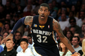 LOS ANGELES, CA - NOVEMBER 02:  O.J. Mayo #32 of the Memphis Grizzlies drives the ball against the Los Angeles Lakers during the game at Staples Center on November 2, 2010 in Los Angeles, California. The Lakers defeated the Grizzlies 124-105. NOTE TO USER