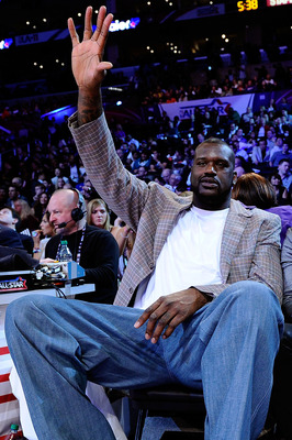 LOS ANGELES, CA - FEBRUARY 19:  Shaquille O'Neal of the Boston Celtics waves as he attends NBA All-Star Saturday night presented by State Farm at Staples Center on February 19, 2011 in Los Angeles, California.  NOTE TO USER: User expressly acknowledges an